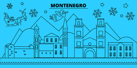 Montenegro winter holidays skyline. Merry Christmas, Happy New Year decorated banner with Santa Claus.Flat, outline vector.Montenegro linear christmas city illustration Иллюстрация