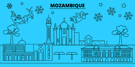 Mozambique winter holidays skyline. Merry Christmas, Happy New Year decorated banner with Santa Claus.Flat, outline vector.Mozambique linear christmas city illustration Standard-Bild - 113440081