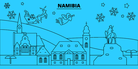 Namibia winter holidays skyline. Merry Christmas, Happy New Year decorated banner with Santa Claus.Flat, outline vector.Namibia linear christmas city illustration