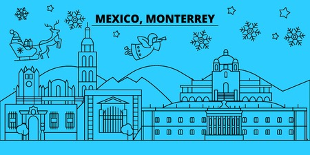 Mexico, Monterrey winter holidays skyline. Merry Christmas, Happy New Year decorated banner with Santa Claus.Flat, outline vector.Mexico, Monterrey linear christmas city illustration