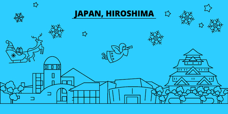 Japan, Hiroshima winter holidays skyline. Merry Christmas, Happy New Year decorated banner with Santa Claus.Flat, outline vector.Japan, Hiroshima linear christmas city illustration Illustration