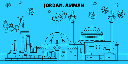 Jordan, Amman winter holidays skyline. Merry Christmas, Happy New Year decorated banner with Santa Claus.Flat, outline vector.Jordan, Amman linear christmas city illustration