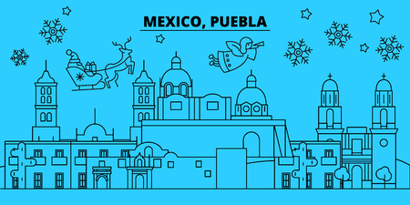 Mexico, Puebla winter holidays skyline. Merry Christmas, Happy New Year decorated banner with Santa Claus.Flat, outline vector.Mexico, Puebla linear christmas city illustration