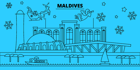 Maldives winter holidays skyline. Merry Christmas, Happy New Year decorated banner with Santa Claus.Flat, outline vector.Maldives linear christmas city illustration  イラスト・ベクター素材