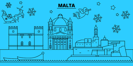 Malta winter holidays skyline. Merry Christmas, Happy New Year decorated banner with Santa Claus.Flat, outline vector.Malta linear christmas city illustration  イラスト・ベクター素材