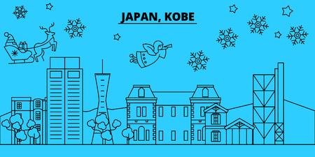 Japan, Kobe winter holidays skyline. Merry Christmas, Happy New Year decorated banner with Santa Claus.Flat, outline vector.Japan, Kobe linear christmas city illustration