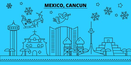 Mexico, Cancun winter holidays skyline. Merry Christmas, Happy New Year decorated banner with Santa Claus.Flat, outline vector.Mexico, Cancun linear christmas city illustration