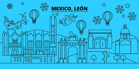 Mexico, Leon winter holidays skyline. Merry Christmas, Happy New Year decorated banner with Santa Claus.Flat, outline vector.Mexico, Leon linear christmas city illustration
