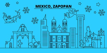 Mexico, Zapopan winter holidays skyline. Merry Christmas, Happy New Year decorated banner with Santa Claus.Flat, outline vector.Mexico, Zapopan linear christmas city illustration