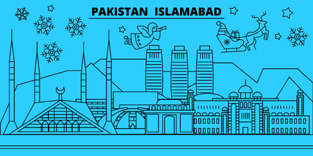 Pakistan, Islamabad winter holidays skyline. Merry Christmas, Happy New Year decorated banner with Santa Claus.Flat, outline vector.Pakistan, Islamabad linear christmas city illustration