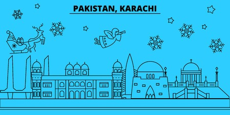 Pakistan, Karachi winter holidays skyline. Merry Christmas, Happy New Year decorated banner with Santa Claus.Flat, outline vector.Pakistan, Karachi linear christmas city illustration