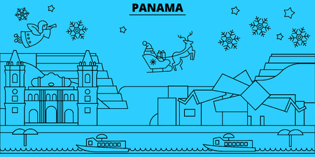 Panama winter holidays skyline. Merry Christmas, Happy New Year decorated banner with Santa Claus.Flat, outline vector.Panama linear christmas city illustration