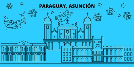Paraguay, Asuncion winter holidays skyline. Merry Christmas, Happy New Year decorated banner with Santa Claus.Flat, outline vector.Paraguay, Asuncion linear christmas city illustration