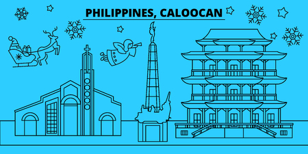 Philippines, Caloocan winter holidays skyline. Merry Christmas, Happy New Year decorated banner with Santa Claus.Flat, outline vector.Philippines, Caloocan linear christmas city illustration