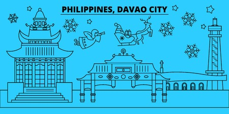 Philippines, Davao City winter holidays skyline. Merry Christmas, Happy New Year decorated banner with Santa Claus.Flat, outline vector.Philippines, Davao City linear christmas city illustration