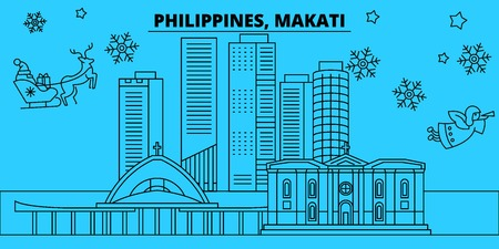 Philippines, Makati winter holidays skyline. Merry Christmas, Happy New Year decorated banner with Santa Claus.Flat, outline vector.Philippines, Makati linear christmas city illustration Illustration