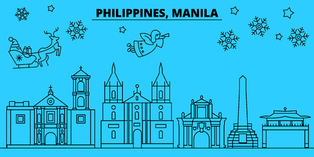 Philippines, Manila winter holidays skyline. Merry Christmas, Happy New Year decorated banner with Santa Claus.Flat, outline vector.Philippines, Manila linear christmas city illustration
