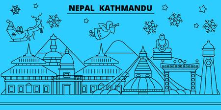 Nepal, Kathmandu winter holidays skyline. Merry Christmas, Happy New Year decorated banner with Santa Claus.Flat, outline vector.Nepal, Kathmandu linear christmas city illustration