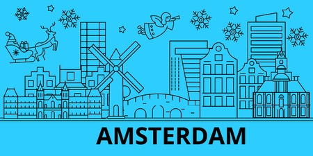 Netherlands, Amsterdam winter holidays skyline. Merry Christmas, Happy New Year decorated banner with Santa Claus.Flat, outline vector.Netherlands, Amsterdam linear christmas city illustration