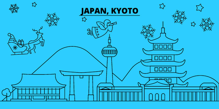 Japan, Kyoto winter holidays skyline. Merry Christmas, Happy New Year decorated banner with Santa Claus.Flat, outline vector.Japan, Kyoto linear christmas city illustration