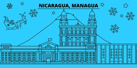 Nicaragua, Managua winter holidays skyline. Merry Christmas, Happy New Year decorated banner with Santa Claus.Flat, outline vector.Nicaragua, Managua linear christmas city illustration