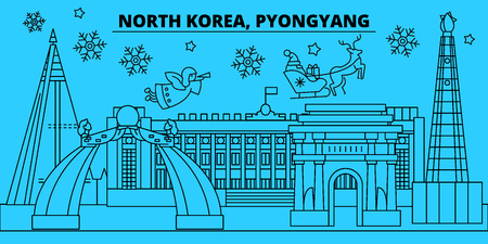 North Korea, Pyongyang winter holidays skyline. Merry Christmas, Happy New Year decorated banner with Santa Claus.Flat, outline vector.North Korea, Pyongyang linear christmas city illustration