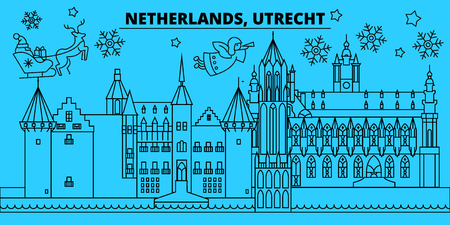 Netherlands, Utrecht winter holidays skyline. Merry Christmas, Happy New Year decorated banner with Santa Claus.Flat, outline vector.Netherlands, Utrecht linear christmas city illustration Ilustracja