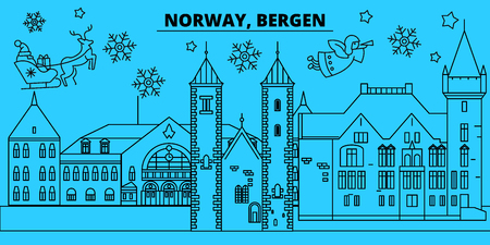 Norway, Bergen winter holidays skyline. Merry Christmas, Happy New Year decorated banner with Santa Claus.Flat, outline vector.Norway, Bergen linear christmas city illustration