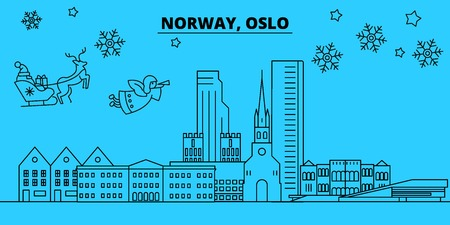 Norway, Oslo winter holidays skyline. Merry Christmas, Happy New Year decorated banner with Santa Claus.Flat, outline vector.Norway, Oslo linear christmas city illustration