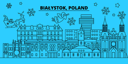 Poland, Bialystok winter holidays skyline. Merry Christmas, Happy New Year decorated banner with Santa Claus.Flat, outline vector.Poland, Bialystok linear christmas, city illustration