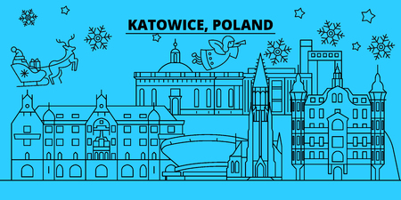 Poland, Katowice winter holidays skyline. Merry Christmas, Happy New Year decorated banner with Santa Claus.Flat, outline vector.Poland, Katowice linear christmas city illustration