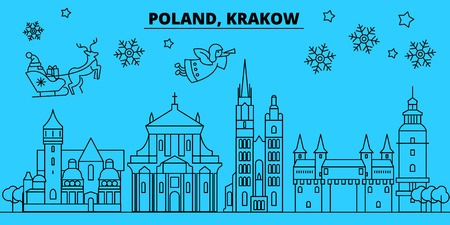poland, Krakow winter holidays skyline. Merry Christmas, Happy New Year decorated banner with Santa Claus.Flat, outline vector.poland, Krakow linear christmas city illustration