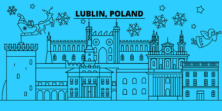 Poland, Lublin winter holidays skyline. Merry Christmas, Happy New Year decorated banner with Santa Claus.Flat, outline vector.Poland, Lublin linear christmas city illustration