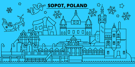 Poland, Sopot winter holidays skyline. Merry Christmas, Happy New Year decorated banner with Santa Claus.Flat, outline vector.Poland, Sopot linear christmas city illustration