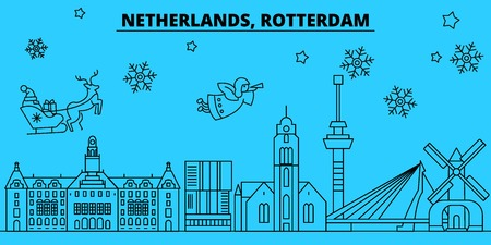 Netherlands, Rotterdam winter holidays skyline. Merry Christmas, Happy New Year decorated banner with Santa Claus.Flat, outline vector.Netherlands, Rotterdam linear christmas city illustration Illustration