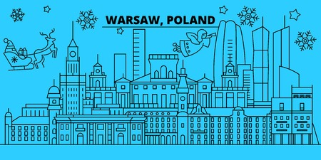 Poland, Warsaw winter holidays skyline. Merry Christmas, Happy New Year decorated banner with Santa Claus.Flat, outline vector.Poland, Warsaw linear christmas city illustration Illustration