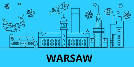 Poland, Warsaw city winter holidays skyline. Merry Christmas, Happy New Year decorated banner with Santa Claus.Flat, outline vector.Poland, Warsaw city linear christmas city illustration