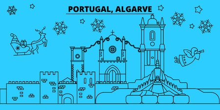 Portugal, Algarve winter holidays skyline. Merry Christmas, Happy New Year decorated banner with Santa Claus.Flat, outline vector.Portugal, Algarve linear christmas city illustration