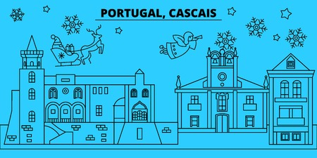 Portugal, Cascais winter holidays skyline. Merry Christmas, Happy New Year decorated banner with Santa Claus.Flat, outline vector.Portugal, Cascais linear christmas city illustration Illustration