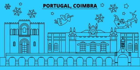 Portugal, Coimbra winter holidays skyline. Merry Christmas, Happy New Year decorated banner with Santa Claus.Flat, outline vector.Portugal, Coimbra linear christmas city illustration