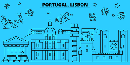 Portugal, Lisbon winter holidays skyline. Merry Christmas, Happy New Year decorated banner with Santa Claus.Flat, outline vector.Portugal, Lisbon linear christmas city illustration 일러스트