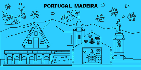 Portugal, Madeira winter holidays skyline. Merry Christmas, Happy New Year decorated banner with Santa Claus.Flat, outline vector.Portugal, Madeira linear christmas city illustration