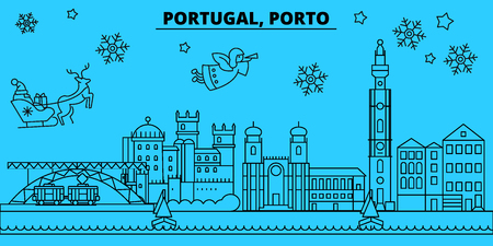 Portugal, Porto winter holidays skyline. Merry Christmas, Happy New Year decorated banner with Santa Claus.Flat, outline vector.Portugal, Porto linear christmas city illustration