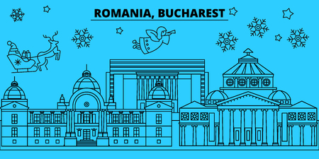 Romania, Bucharest winter holidays skyline. Merry Christmas, Happy New Year decorated banner with Santa Claus.Flat, outline vector.Romania, Bucharest linear christmas city illustration