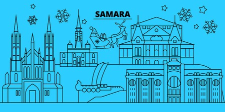 Russia, Samara winter holidays skyline. Merry Christmas, Happy New Year decorated banner with Santa Claus.Flat, outline vector.Russia, Samara linear christmas city illustration