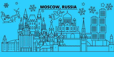 Russia, Moscow city winter holidays skyline. Merry Christmas, Happy New Year decorated banner with Santa Claus.Flat, outline vector.Russia, Moscow city linear christmas city illustration