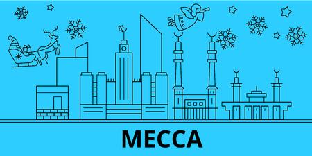Saudi Arabia, Mecca winter holidays skyline. Merry Christmas, Happy New Year decorated banner with Santa Claus.Flat, outline vector.Saudi Arabia, Mecca linear christmas city illustration
