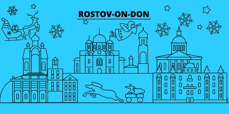 Russia, Rostov-on-Don winter holidays skyline. Merry Christmas, Happy New Year decorated banner with Santa Claus.Flat, outline vector.Russia, Rostov-on-Don linear christmas city illustration Stock Vector - 127335040