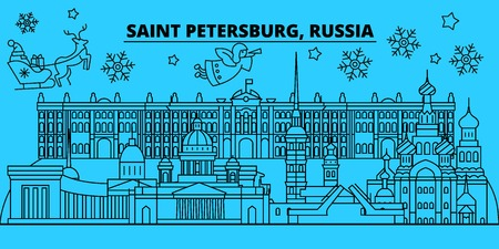 Russia, Saint Petersburg winter holidays skyline. Merry Christmas, Happy New Year decorated banner with Santa Claus.Flat, outline vector.Russia, Saint Petersburg linear christmas city illustration