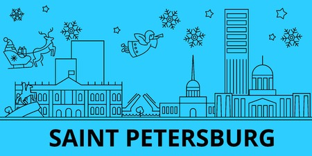 Russia, Saint Petersburg city winter holidays skyline. Merry Christmas, Happy New Year  with Santa Claus.Outline vector.Russia, Saint Petersburg city linear christmas city illustration